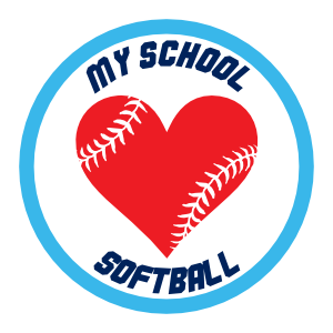 Custom Softball Magnet with Heart Seams and text
