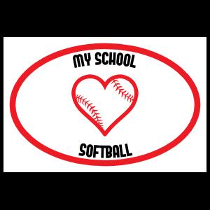 Custom Love Softball Oval Sticker