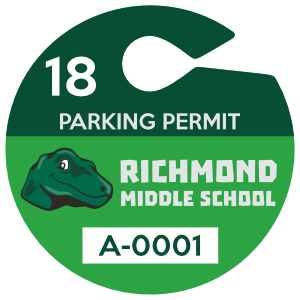 Large Circle School Hang Tag Parking Permit