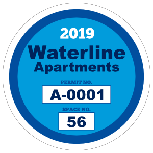 Apartment with Space Circle Parking Permit Sticker