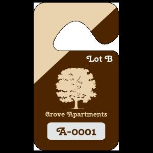 Diagonal Color Apartment Parking Permit Hang Tag