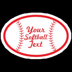 Custom Oval Softball with Seams and Text