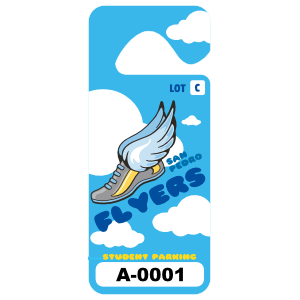 Cloudy Sky Long Standard School Hang Tag Parking Permit
