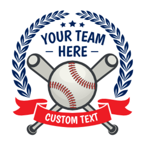 Custom Baseball Emblem with Leaves and Text Magnet