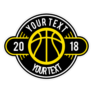 Custom Color Text Basketball Circle Sticker