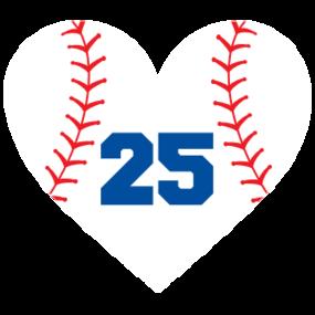 Custom Heart Softball Sticker with Number