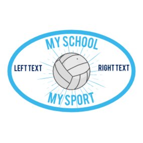Custom Volleyball Oval Full Burst Sticker