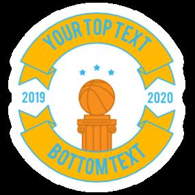 Custom 2-Banner Full Color Basketball Sticker
