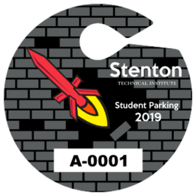 Circle Brick Wall School Hang Tag Parking Permit