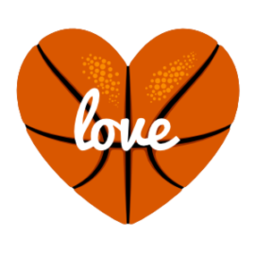 Custom Heart-Love Basketball Text Sticker