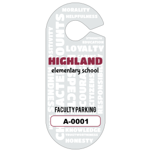 Character Counts Oval Hang Tag Parking Permit