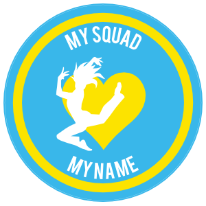 Custom Side Jumping Dancer with Heart Circle Sticker