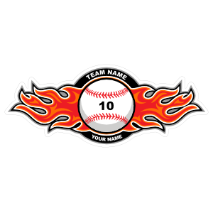 Baseball with Red Flames Sticker