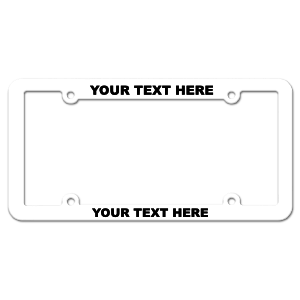 Customizable Inverted Thin Top-Medium Bottom White License Plate Frame