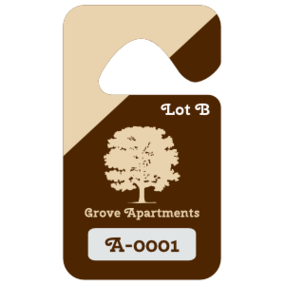 Diagonal Color Apartment Parking Permit Hang Tag