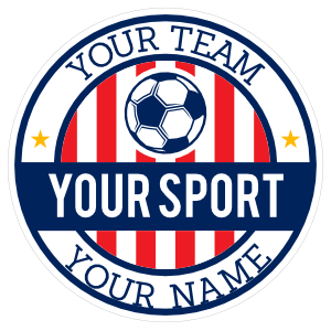 Custom Striped Circle Soccer Sticker