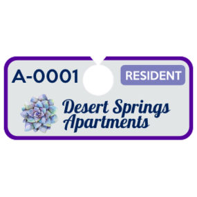 Horizontal Apartment Hang Tag Parking Permit