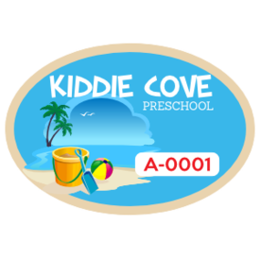 Beach Themed School Oval Parking Permit Sticker