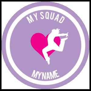 Custom Landing Dancer with Heart Circle Sticker