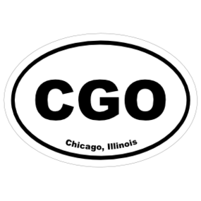 Chicago, Illinois Oval Stickers