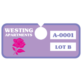 Horizontal Rectangle Apartment Parking Permit Hang Tag