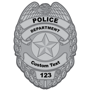 Custom Silver Police Badge Magnet
