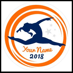 Custom Jumping Gymnast Circle with Stars Sticker