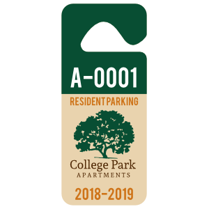 Long 2-Color Apartment Hang Tag Parking Permit