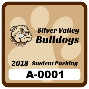 Paw Print Square School Parking Permit Sticker