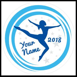 Custom Gymnastics Swoosh and Stars Circle Sticker