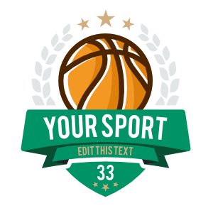 Custom Basketball Emblem with Your Text and Leaves
