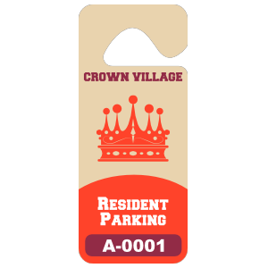 Tall Rectangular Apartment Hang Tag Parking Permit