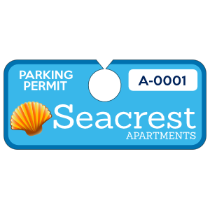 Horizontal Apartment Complex Hang Tag Parking Permit
