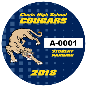 Fading Squares Circle School Parking Permit Sticker