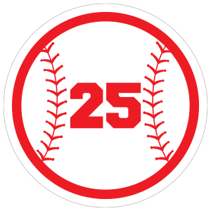 Custom Circle Softball Sticker with your Number