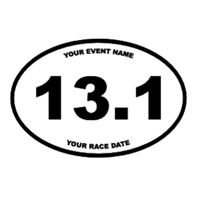Custom Half Marathon Oval Sticker with Your Text