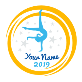 Custom Handstand Gymnast Swoosh Circle Sticker