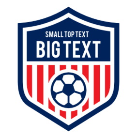Custom Striped Shield for Soccer with Big Text