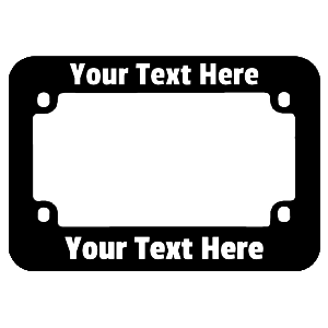 Custom Black Plastic Motorcycle License Plate Frame with Raised Letter