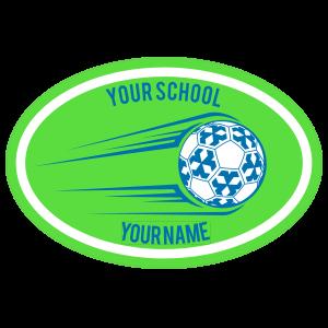 Custom Soccer Ball Going Up Oval Sticker