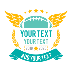 Custom Football Sticker with Wings and Your Text