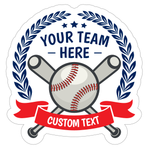 Custom Baseball Emblem with Leaves and Text