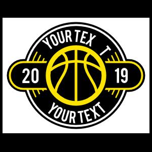 Custom Color Text Basketball Circle Sticker