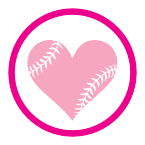 Custom Circle Softball Sticker with Seams in a Heart