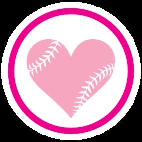 Custom Circle Softball Sticker with Seams in a Heart