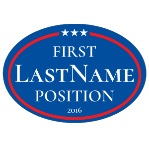Custom Campaign Star Border Oval Sticker