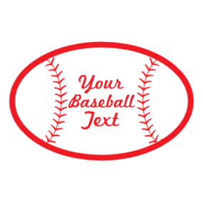 Custom Oval Baseball with Seams and Text