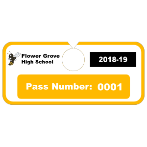 Pass Number Horizontal Hang Tag Parking Permit