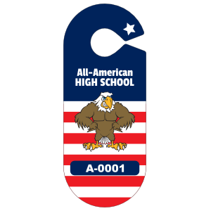 All American Oval School Hang Tag Parking Permit