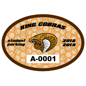 Double Hexagon Oval School Parking Permit Sticker
